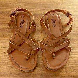Girls size 13 brown strappy sandals